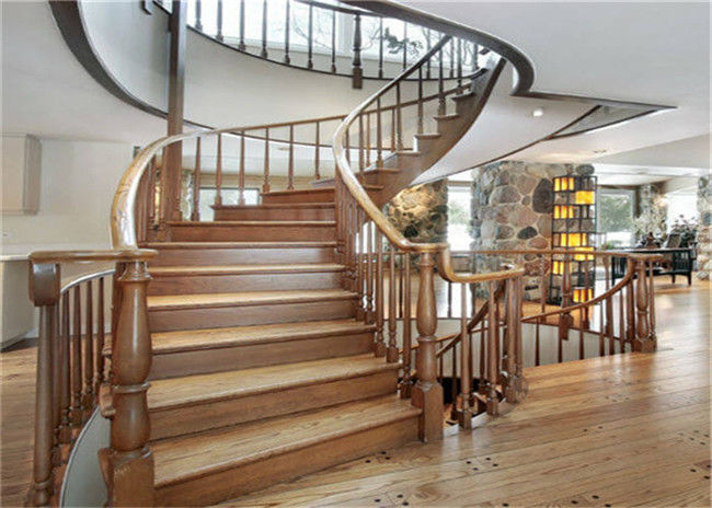 Elegant 38mm Open Wood Stairs Gl Railing Curved Wooden Staircase No Slip