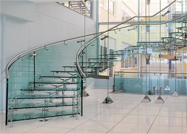 Carbon Steel Building Curved Stairs Galvanized Finish , Round Post Steel  Railing