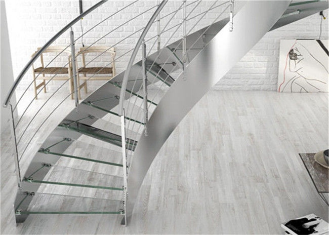 Prima Construction Modern Curved Staircase , Curved Glass Stairs With Round  Post Glass Railing