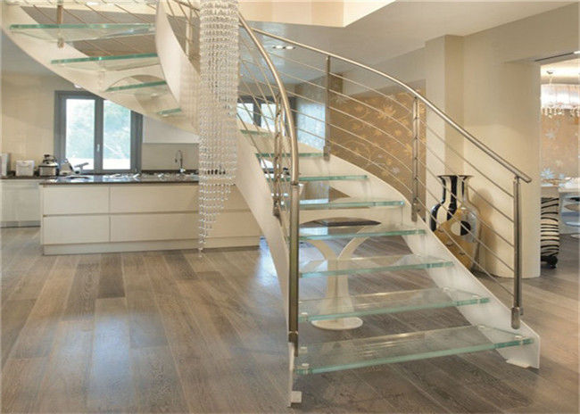 Interior Wrought Iron Curved Wooden Staircase Floating Wood Stairs Customize Size