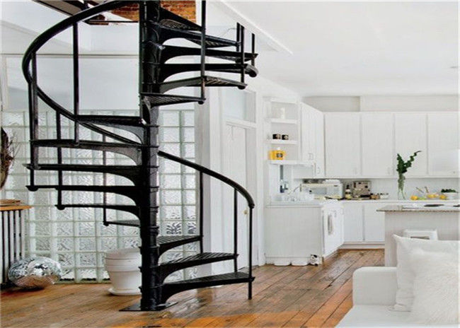 Home Decoration Walnut Wooden Spiral Staircase With Cable Railing ,  Uninterrupted View