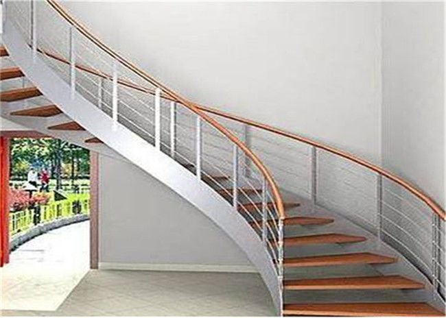 Indoor Custom Wood Stairs , Curved Staircase Construction For Large