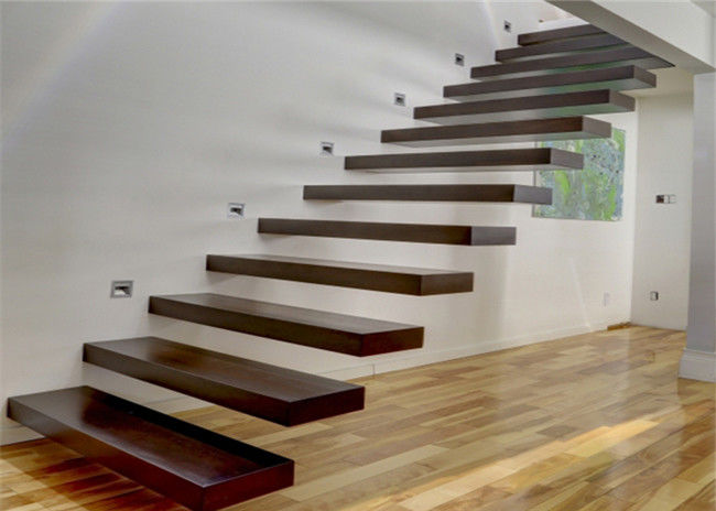 Wooden Steps Floating Staircase Residential Indoor Stairs With Removable Stair Railing