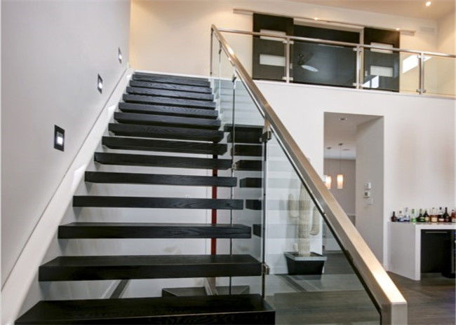 Metal Floating Stairs , Modern Floating Stairs Single Invisible Stringer  Staircase