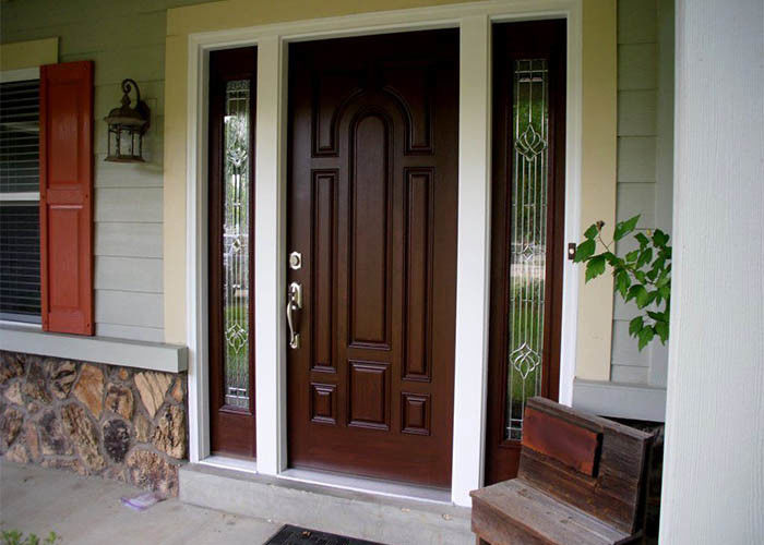 Home Frame Solid Wood Main Door , Carved Double Doors With ... on