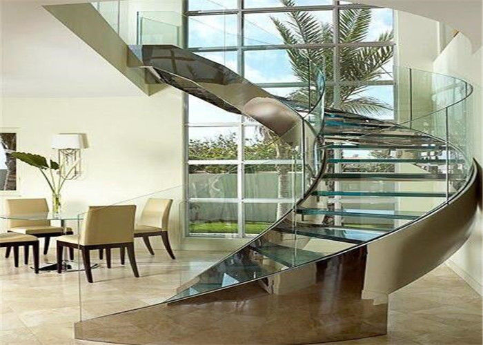 Round Glass Modern Curved Staircase With Double U Channel