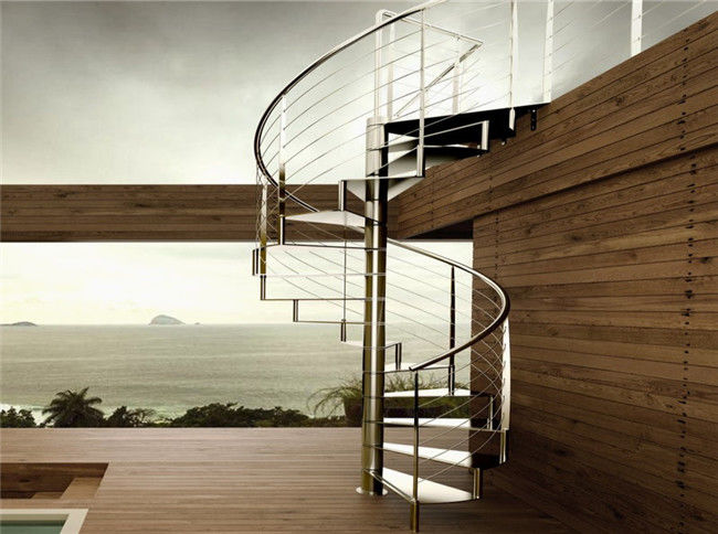 Modern House Custom Spiral Staircase Stainless Steel Material Round Design