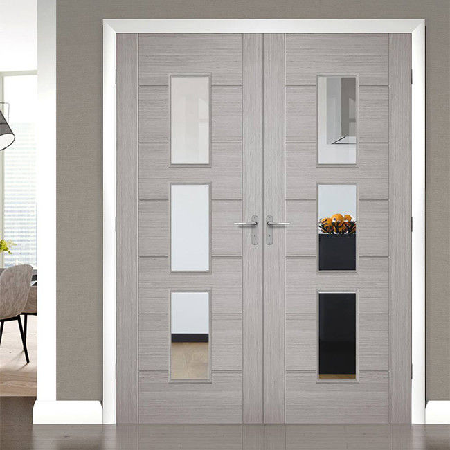 China Front Main Gate Solid Wood Entry Doors , Solid Wood Interior Doors  With Glass Supplier