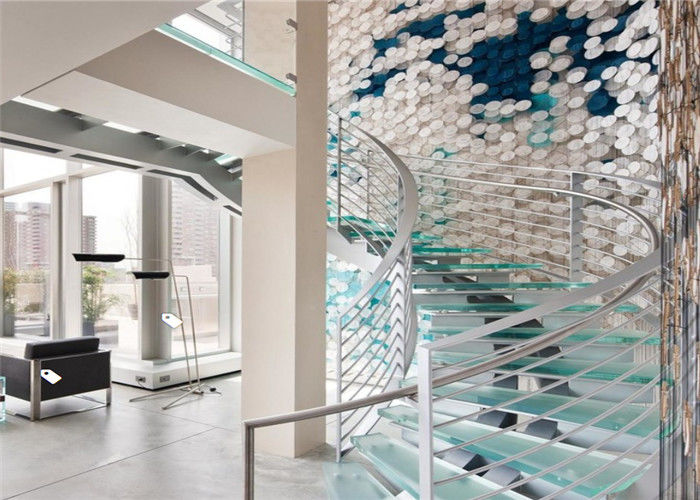 Modern Curved Basement Stairs Laminated Tempered Glass Luxury Staircase  Design