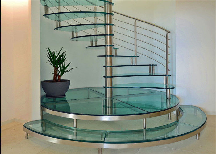 Carbon Steel Glass Custom Spiral Staircase Customized Size