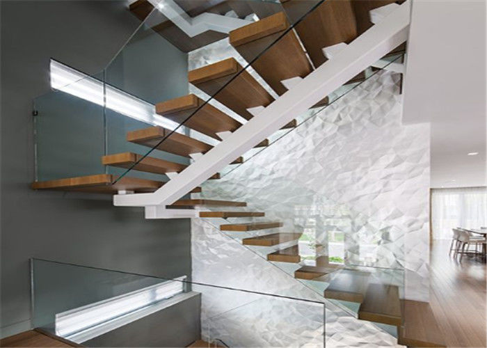 Contemporary Straight Flight Staircase Glass Railing Straight Flight
