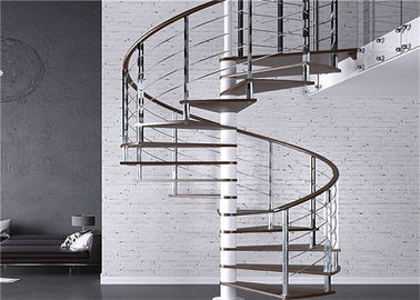 Carbon Steel Tread Custom Spiral Staircase , Outdoor Wood Spiral Staircase