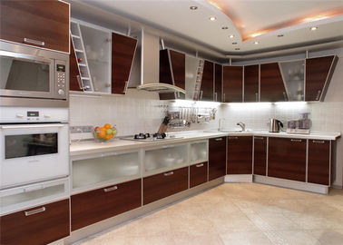 China High Gloss Lacquer MDF Kitchen Cabinets Blum / Dtc Hardware With Countertop Sink / Faucet distributor