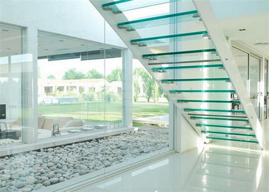 China Indoor Flight Modern Straight Staircase Commercial Staircase Laminated Glass Treads Easy Assemblying distributor