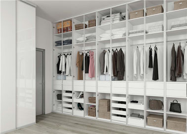 China Bedroom Cabinet Walk In Closet Wardrobe MDF White Design Blum / Dtc Hardware distributor