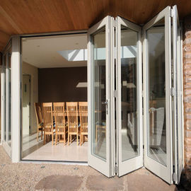 China Exterior Frameless Bifold Commercial Aluminum Glass Doors Folding Type With Hardware distributor