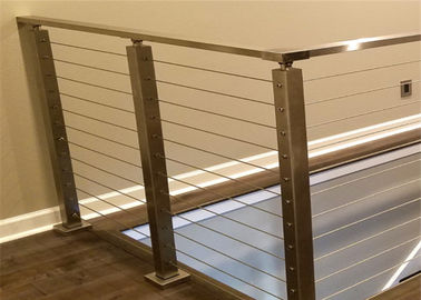 China Solid Structure SS Wire Balustrade , Horizontal Cable Railing Systems 1000-1200mm Height distributor