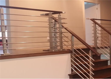 China Home Safety Stainless Steel Rod Railing , Steel Railing Design For Balcony distributor