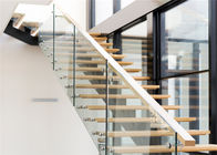 Mono Stringer Contemporary Glass Staircase , Steel And Wood Staircase Design