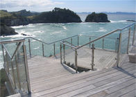 Modern Stainless Steel Glass Balcony Railings , Clear Laminated Glass Railing