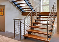 Customized Straight Flight Staircase Solid Wood Treads Double Stringer Diy Installation