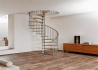 Indoor Custom Spiral Staircase Solid Wooden Modern Style Screws Installation