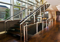 Straight Flight Glass Stair Railings Staircase Interior With Solid Wood Tread