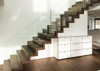 Modern Straight Flight Staircase Zig Zag Stringer Timber Wooden Stair Glass Railing Wire Banister