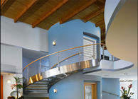 Residential Metal Spiral Staircase Stainless Steel Railing Laminated Glass Treads