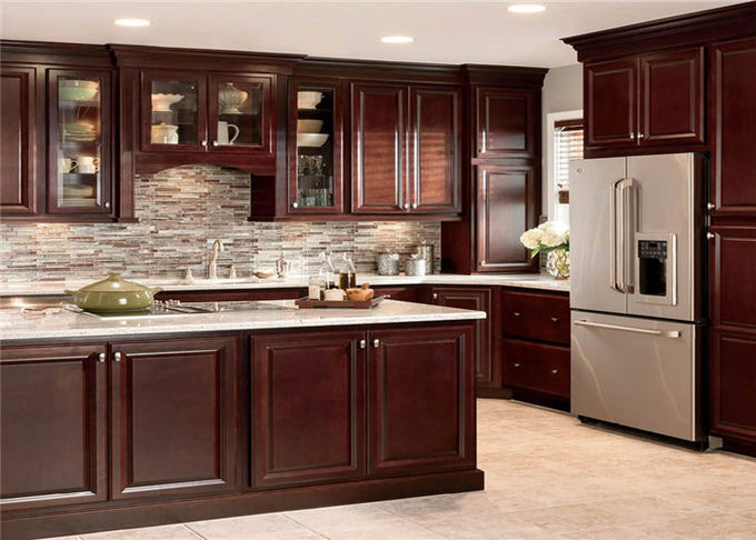 Beautiful Solid Wood Kitchen Cabinets Customized Classic Design From Foshan