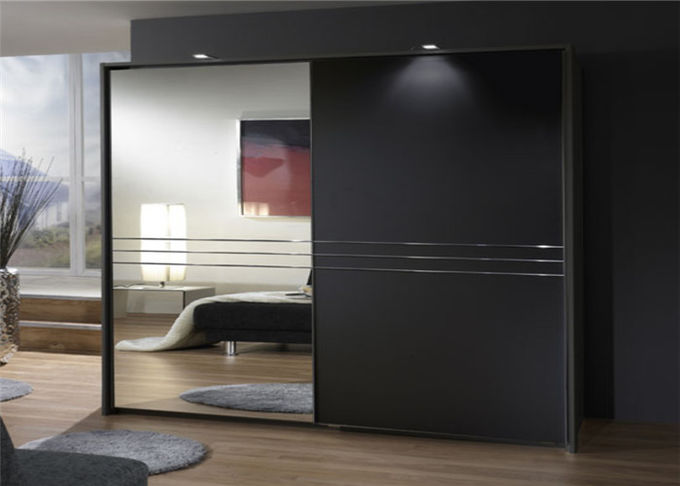 Particle Board Walk In Wardrobe Eco - Friendly With Mirror Sliding Door