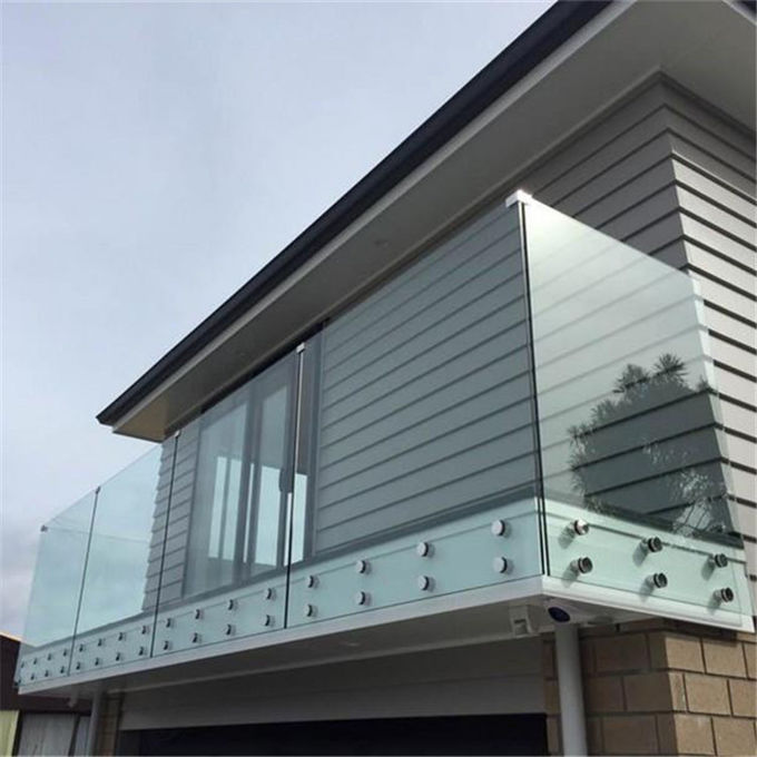 Balcony Frameless Glass Deck Railing Systems Stainless Steel Standoff 850-1200mm Height